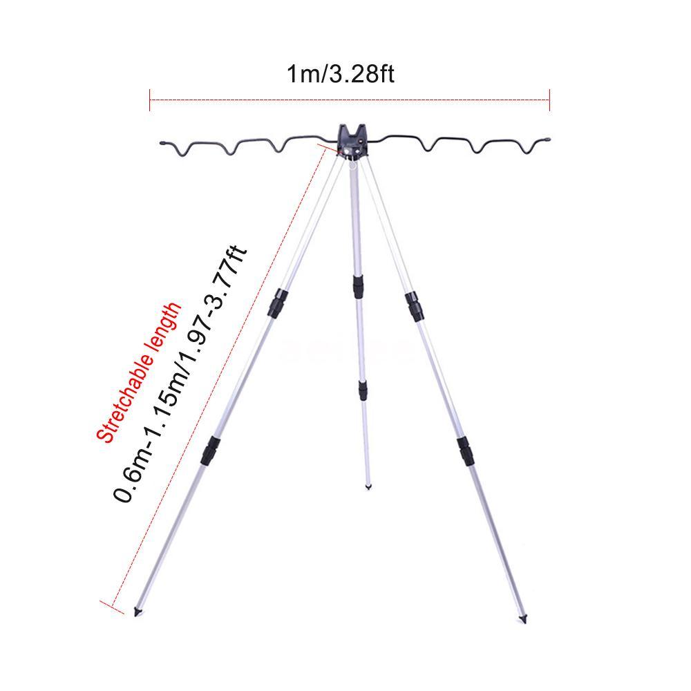 7 Ruten Rutenhalter Tripod Rutenständer Teleskop Angelhalter+Haken 60-115cm M4J6